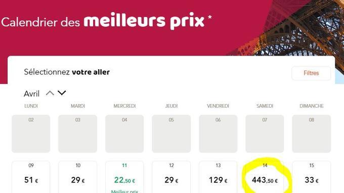 Un billet de train à 500€ pour un...Calais-Paris
